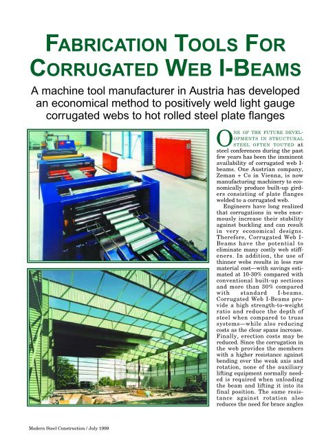 FABRICATION TOOLS FOR CORRUGATED WEB I-BEAMS - AISC