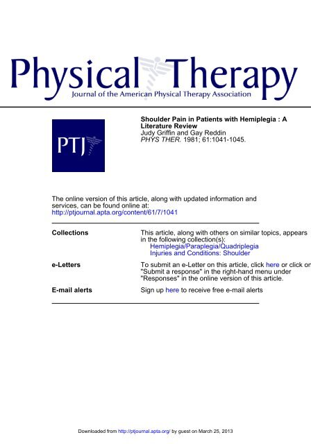 Shoulder Pain in Patients with Hemiplegia - Physical Therapy