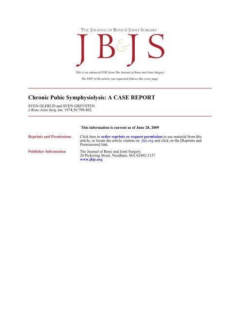 Chronic Pubic Symphysiolysis: A CASE REPORT