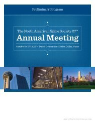 Dear Spine Care Professionals - NASS Annual Meeting