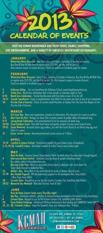 CALENDAR OF EVENTS - Kemah Boardwalk Inn