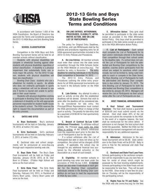 2012-13 Girls and Boys State Bowling Series Terms and Conditions
