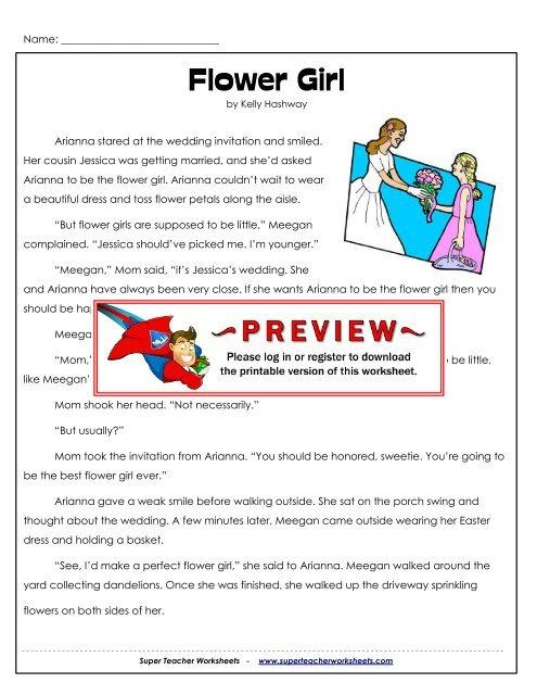 Flower Girl (Fiction) - Super Teacher Worksheets