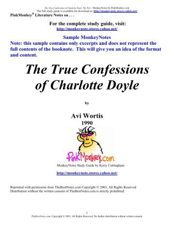 charlotte doyle character analysis The true confessions of charlotte doyle essay: journey of change as autumn to spring, as night to day, as black to white, all things change.
