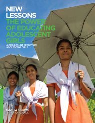 New Lessons: The Power of Educating Adolescent Girls - Population ...