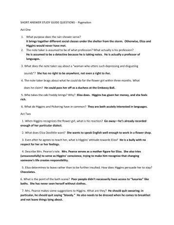 pygmalion essay prompts