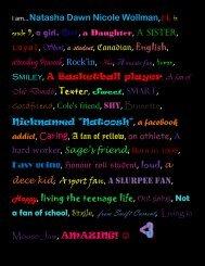 I am…Natasha Dawn Nicole Wollman,14, in grade 9, a girl, Shy, a ...
