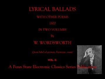 LYRICAL BALLADS - Penn State University