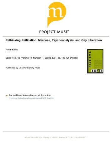 Rethinking Reification: Marcuse, Psychoanalysis, and Gay Liberation
