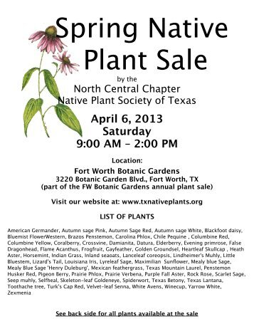 Download the Flyer and list of plants - North Central Chapter of the ...
