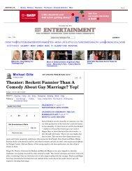 Michael Giltz: Theater: Beckett Funnier Than A Comedy About Gay ...
