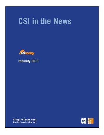 CSI in the News February 2011 - CSI Today