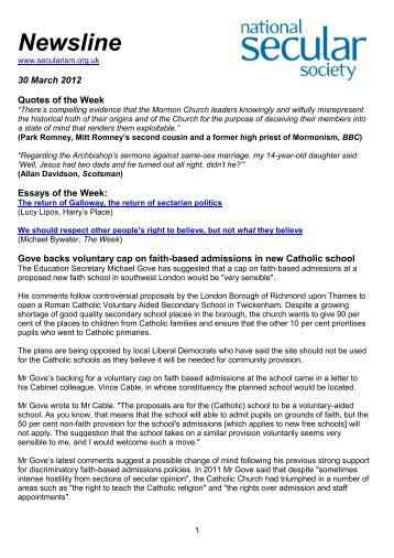 Newsline 30 March 2012 - National Secular Society