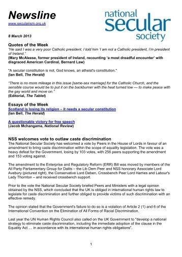 Newsline 08 March 2013 - National Secular Society