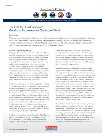 The F&P Text Level Gradient - Heinemann