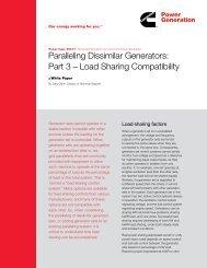 Paralleling Dissimilar Generators: Part 3 – Load ... - Cummins Inc.