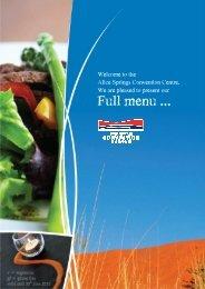 ASPCC Full Menu 2012 - current - Alice Springs Convention Centre