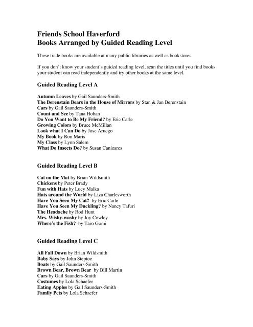 Books Arranged By Guided Reading Level Friends School