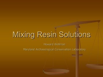 Mixing Resin Solutions by Howard Wellman