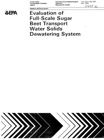 Evaluation of Full-Scale Sugar Beet Transport Water ... - P2 InfoHouse