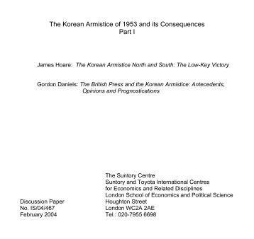 The Korean Armistice of 1953 and its Consequences - STICERD ...