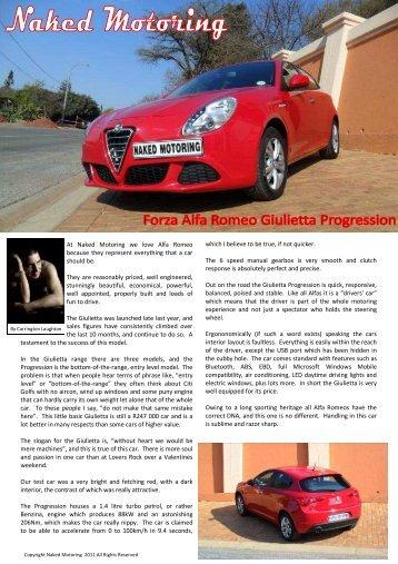 Alfa Romeo Giulietta Progression - Naked Motoring SA