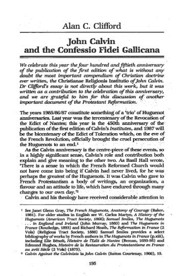 "Alan C. Clifford, ""John Calvin and the Confessio - BiblicalStudies.org ..."
