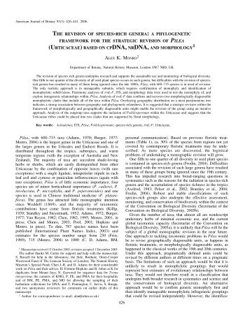 the revision of species-rich genera - American Journal of Botany