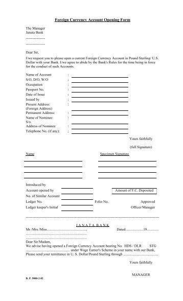 Foreign Currency Account Opening Form and other ... - Janata Bank