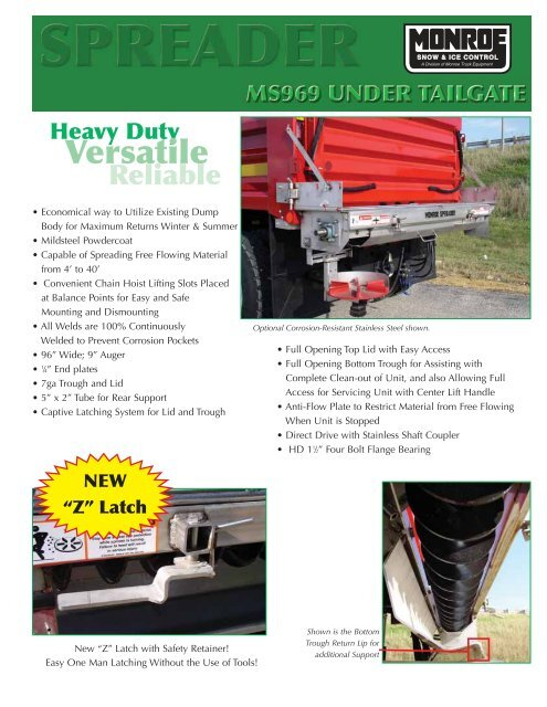 Monroe Truck Equipment >> Ms969 Undertailgate Spreader Monroe Truck Equipment