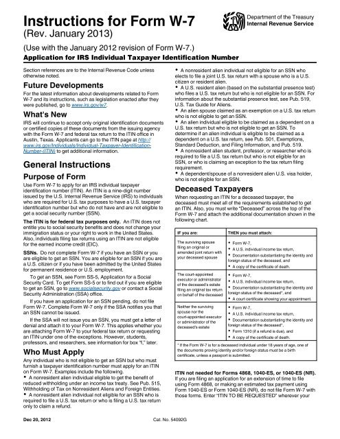 Instructions for Form W-7 - Internal Revenue Service
