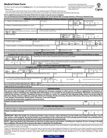 Cigna Medical Claim Form - Department Of Human Resources