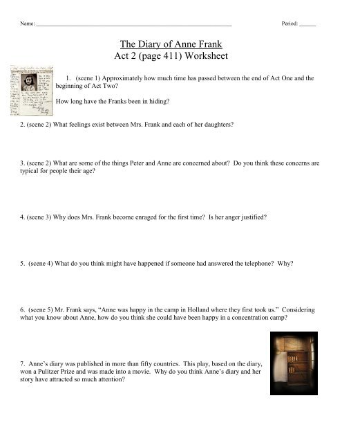 The Diary of Anne Frank Act 2 (page 411) Worksheet