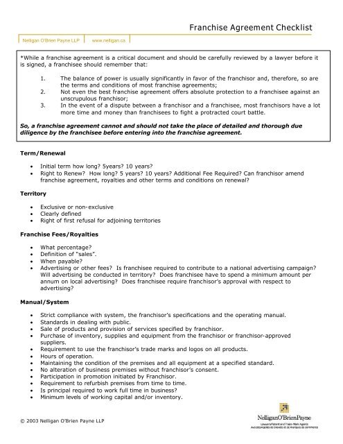 Franchise Agreement Checklist Nelligan Obrien Payne