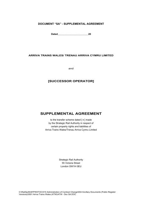 ATW Supplemental Agreement - Gov.uk