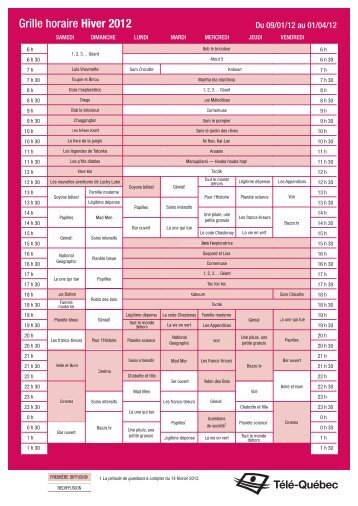 Grille horaire Hiver 2012