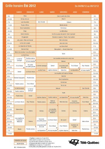 Grille horaire Été 2012