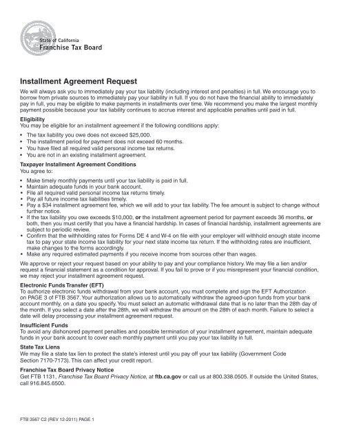 Installment Agreement Request California Franchise Tax
