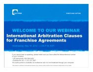 International Arbitration Clauses for Franchise ... - DLA Piper
