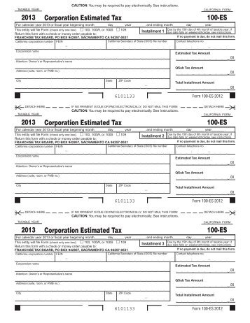 2013 Form 540-ES -- Estimated Tax for Individuals - FTB.ca.gov