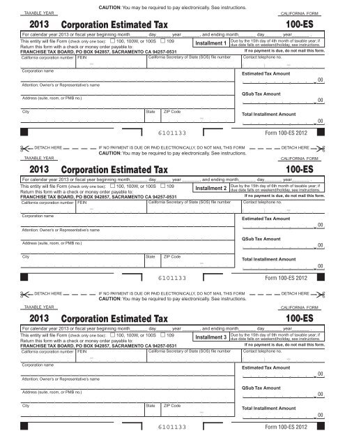 2013 Form 100 Es Corporation Estimated Tax Ftb Ca Gov