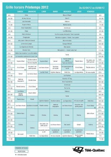 Grille horaire Printemps 2012