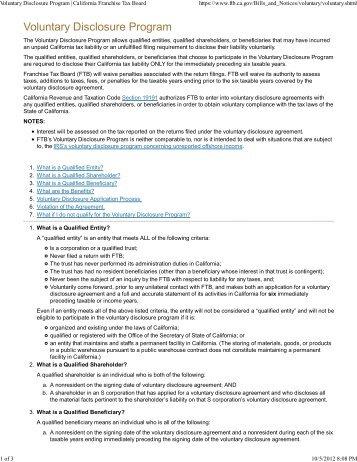 Voluntary Disclosure Program | California Franchise Tax Board