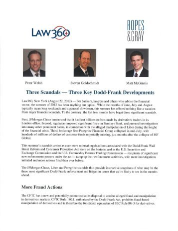 20121018 Law360 Article - Ropes & Gray LLP