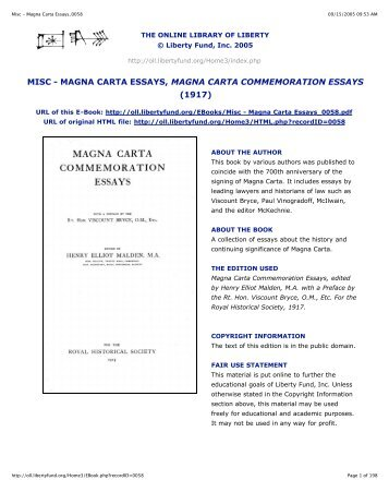magna carta the ius commune and english common law magna carta essays 0058 online library of liberty liberty fund