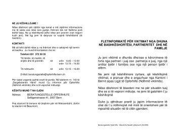 FLETINFORMATË PËR VIKTIMAT NGA DHUNA NË - Opferhilfe Bern