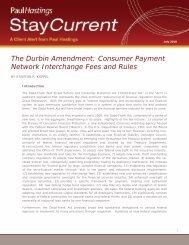 The Durbin Amendment: Consumer Payment ... - Paul Hastings