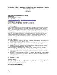 Planning for Healthy Communities - University of Colorado Denver