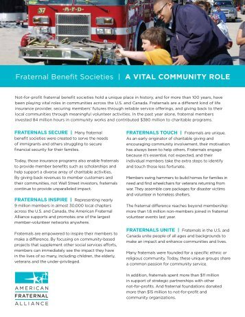 Fraternal Benefit Societies | A vITAL COmmUNITy ROLE - American ...