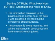 Starting Off Right: What New Non- 501(c)(3 ... - IRS Video Portal